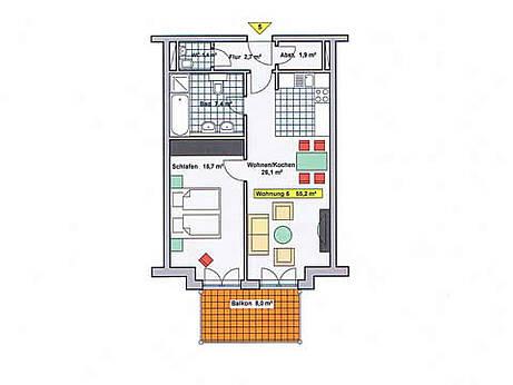Grundriss der Ferienwohnung 05 in der Villa Wagenknecht