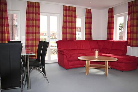 Wohnzimmer in der Ferienwohnung 01 der Villa Wagenknecht