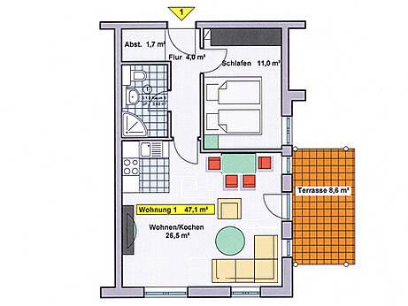 Grundriss der Ferienwohnung 01 in der Villa Wagenknecht