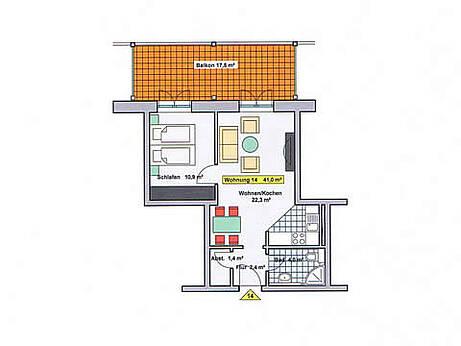 Grundriss der Ferienwohnung 14 in der Villa Wagenknecht